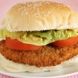 Chicken fillet in a bun — Photo