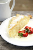 Apple pie and cream — Stock Photo