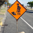 Stock Photo: Road works ahead