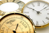 Clock and barometer dials or bezels — Stock Photo