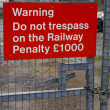 Railway Trespass sign — Stock Photo