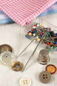 Thimble and sewing items — Stock Photo