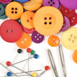 Sewing kit and colorful buttons — Stock Photo