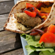 Stock Photo: Flat bread with Falafel and Hummus