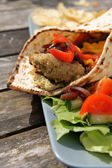 Flat bread with Falafel and Hummus — Stock Photo