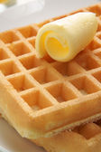 Waffles and butter — Stock Photo