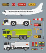 Airport infographic set with trucks — Stock Vector
