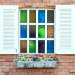 Vintage window brick wall — Stock Photo