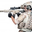 Stock Photo: Soldier full Armor shoot isolated