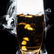 Alcohol smoke black background — Stock Photo