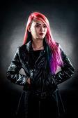 Girl colour hair magnificent fashion — Stock Photo