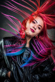 Girl movement colour hair magnificent — Stock Photo