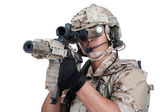 Soldier man holding Machine gun shoot — Stock Photo