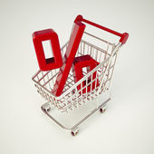 Cart and Percentage — Stock Photo