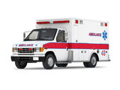 Ambulance Car Isolated on White Background. Perspective View — Stock Photo