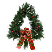 Triangle christmas advent wreath isolated on white — Stok fotoğraf