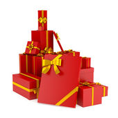 Set of christmas and birhday gift boxes. Isolated — Stock Photo