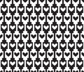 Black seamless background, pattern with hearts — Stock Vector