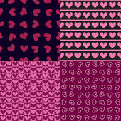 Four seamless patterns with hearts — Stock Vector