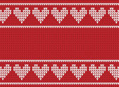 Red and white knitted background with hearts — Stock Vector