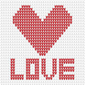 Knitted heart white and red — Stock Vector