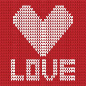 Knitted heart red and white — Stock Vector