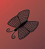 Black butterfly on red background. Eps10 — Stock Vector