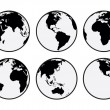 Six black and white vector Earth globes — Stock Vector #49865587
