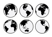 Six black and white vector Earth globes — Stock Vector