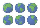 Six 3D Earth globes — Stock Vector