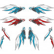 Pair of Angelic Wings and Single Feathers Decorative Illustration — Image vectorielle