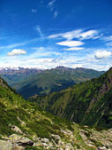 Mountain Top View from a Path. Blue Sky. Alps. — Stock Photo