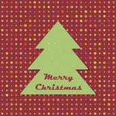 Sapin de Noël Vintage sur fond de pois au hasard. modèle sans couture rouge. fond avec place pour le texte. illustration vectorielle. — Vecteur