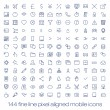 144 cutting edge modern icons for mobile interface. Fine line pixel aligned mobile ui icons with variable line width. — Stock Vector #34618645