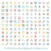144 cutting colored retro vintage icons for mobile interface. Fine line pixel aligned mobile ui icons with variable line width. — Stock Vector