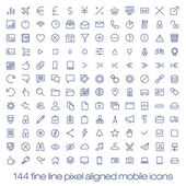 144 cutting edge modern icons for mobile interface. Fine line pixel aligned mobile ui icons with variable line width. — Stock Vector