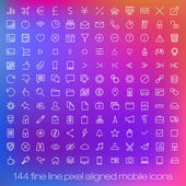 144 cutting edge modern icons for mobile interface. Fine line pixel aligned smart phone ui icons with variable line width. — Stock Vector