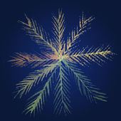 Beautiful snowflake painted in watercolor on dark background. Vector illustration. — Stock Vector