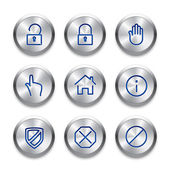 Icon set on silver buttons. Cutting edge modern icons. Fine line pixel aligned mobile ui icons. — Stock Vector