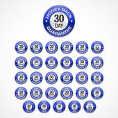 30 Days Money Back Guarantee badges icons in 30 languages (eng, he, ar, th, tr, es, sv, sl, sk, ru, ro, pt, pb, pl, no, it, hu, hi, el, de, fr, fi, nl, da, cs, hr, zh, zg, ko, ja). — Vetorial Stock