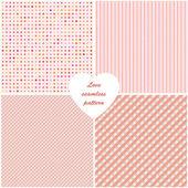 Różowy tło zestaw z wzór. ilustracja wektorowa. — Wektor stockowy
