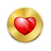Red heart on gold metal badges. Valentines day. Vector background. — Stock Vector