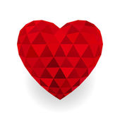 Red triangle heart. Vector. — Vector de stock