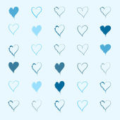 Cartoon hearts pattern. Hand draw hearts. Vector. — Vecteur