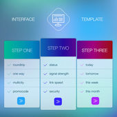 Modern website ui template design. Transparent app user interface wizard buttons on minimalistic backdrop. Vector editable webdesign elements on blurred background with icons. — Stock Vector