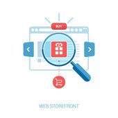 Иллюстрация для Интернет магазина, добавить в портфель, Интернет-магазин, Интернет-магазины. Плоский дизайн концепции иконки для Интернет-магазины и электронная коммерция — Cтоковый вектор