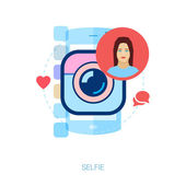 Set of modern flat design icons for mobile photo and selfie. Instant smart phone online selfi photo sharing conept vector illustration. — Stock Vector