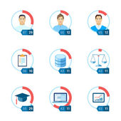 Flat icon infographic template set for education, statistic, personal, environment, law, ui, interface justice, computing, start-up, tasks, database. Part to whole ratio sector pie chart illustration. — Stock Vector