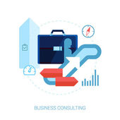 Consulting, career, business performance, direction flat icons vector illustration. — Vettoriale Stock