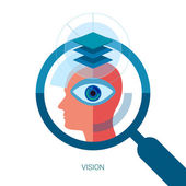 Vision flat design icon concept. Internet advertising business development, internet marketing research, consulting and graphic design. Web & mobile services vector illustration. Human head and eye. — Stockvektor
